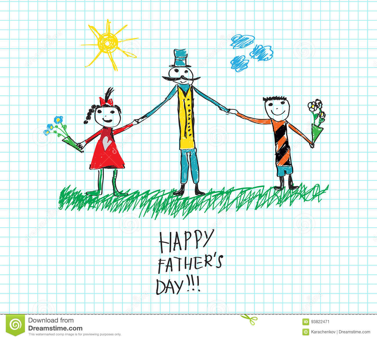 Happy Father S Day Child S Drawing Sketch Stock Vector