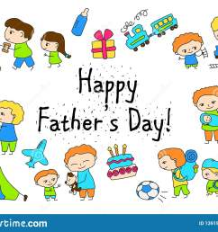 happy father s day vector clipart with child drawing of family scenes happy father [ 1600 x 1156 Pixel ]