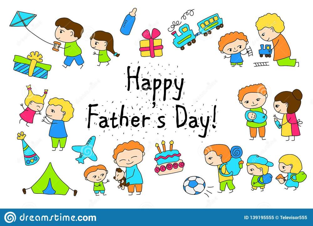 medium resolution of happy father s day vector clipart with child drawing of family scenes happy father