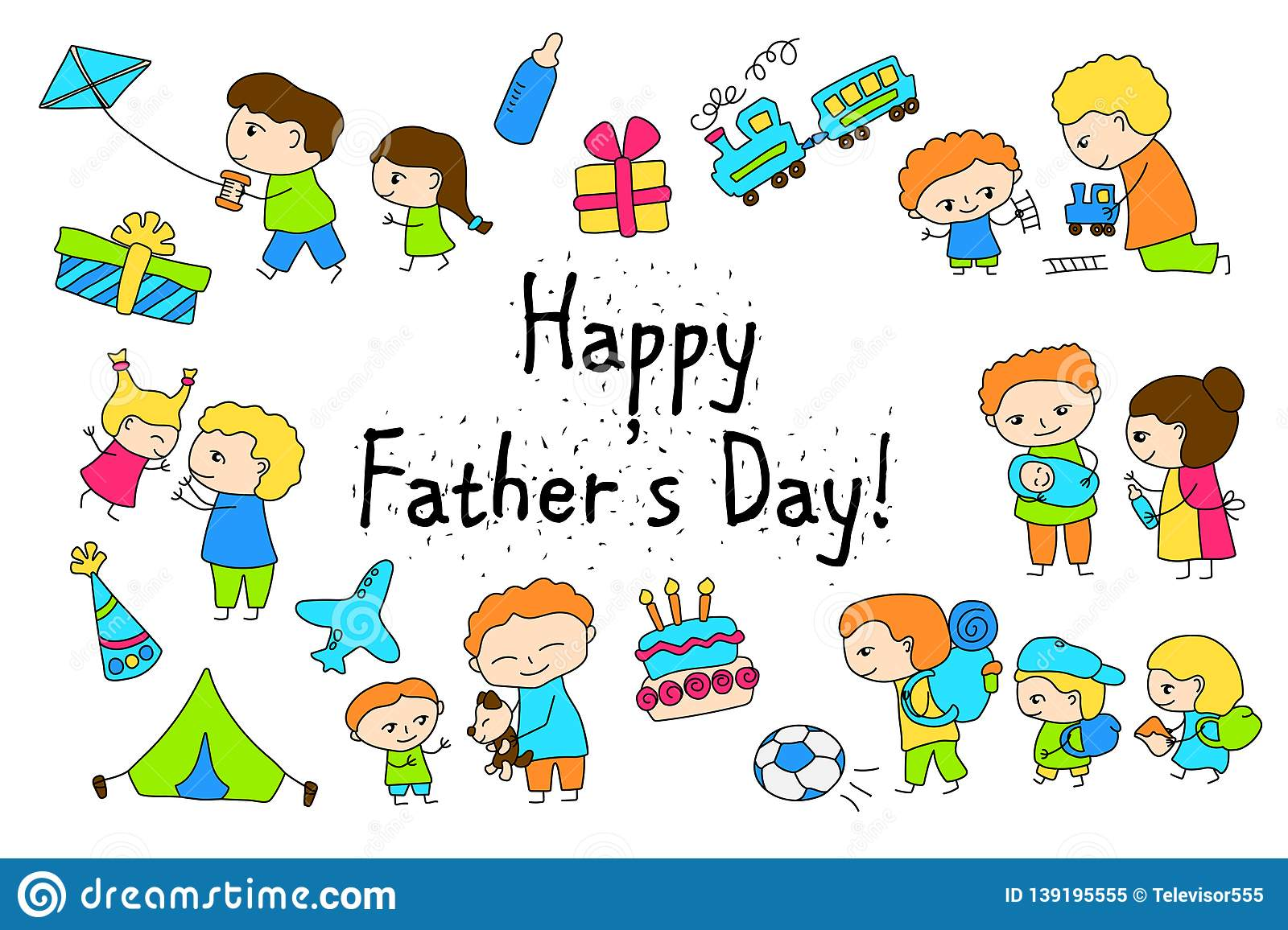 hight resolution of happy father s day vector clipart with child drawing of family scenes happy father