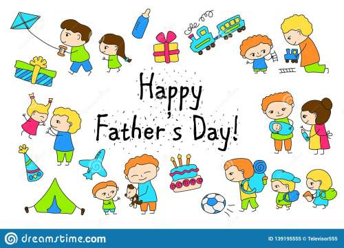 small resolution of happy father s day vector clipart with child drawing of family scenes happy father