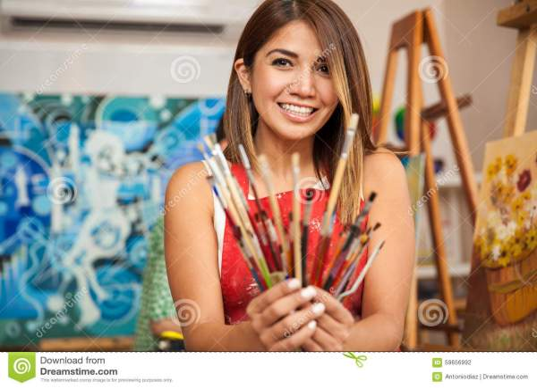 Happy Female Artist Work Stock - Of