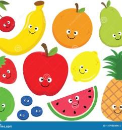set of happy cartoon fruit clipart  [ 1300 x 1130 Pixel ]