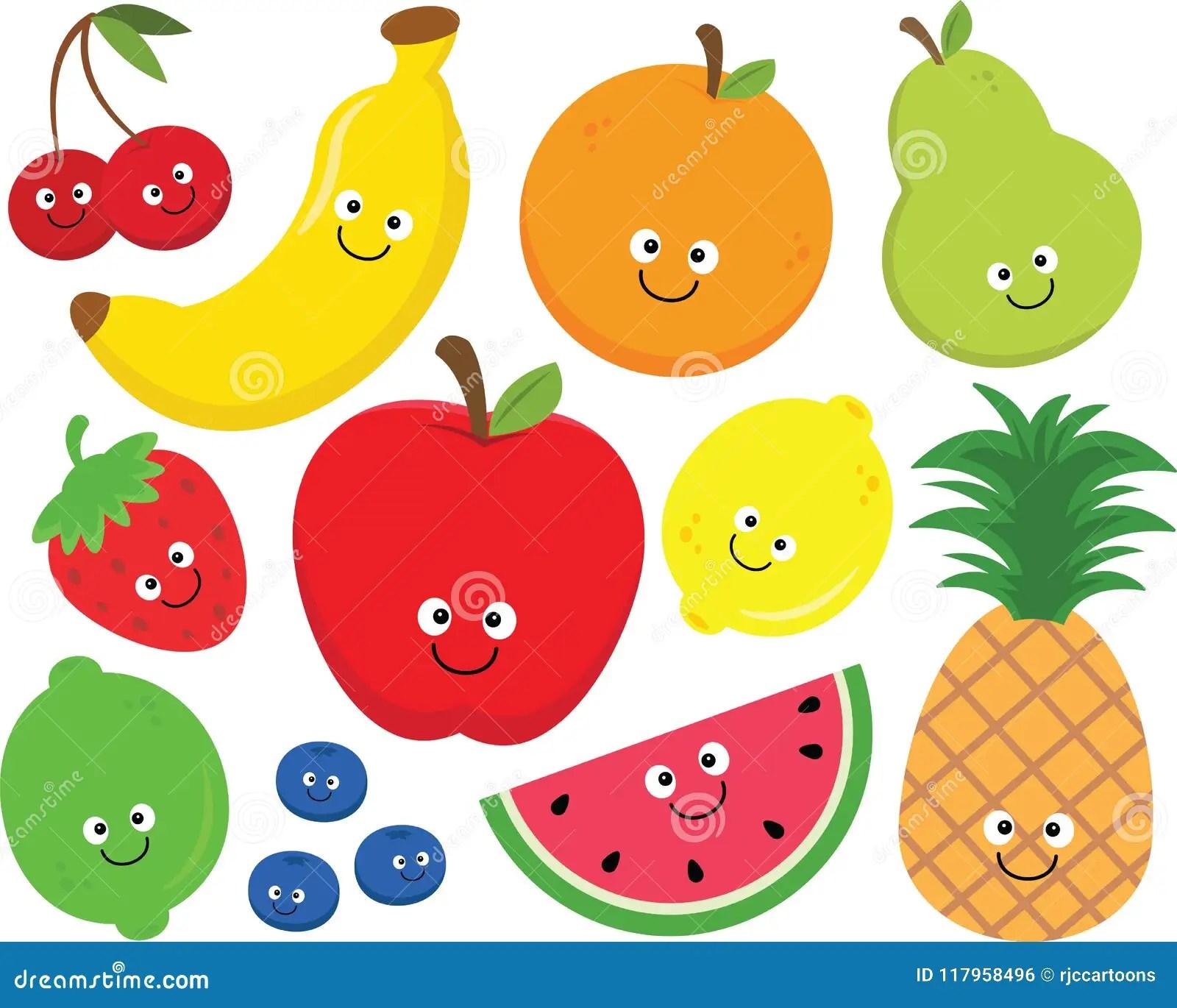 hight resolution of set of happy cartoon fruit clipart
