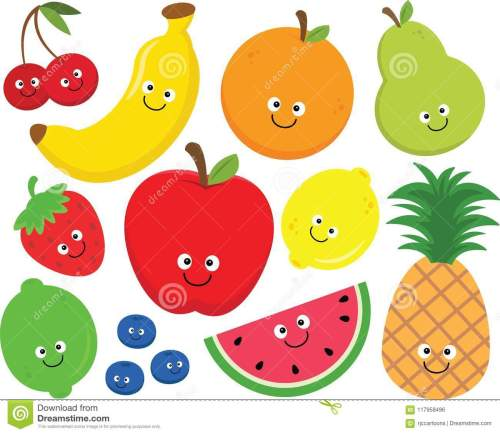 small resolution of set of happy cartoon fruit clipart