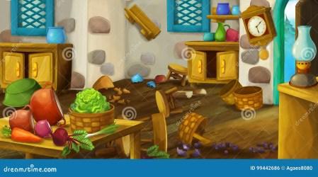 cartoon kitchen fashioned scene illustration usage different children funny preview