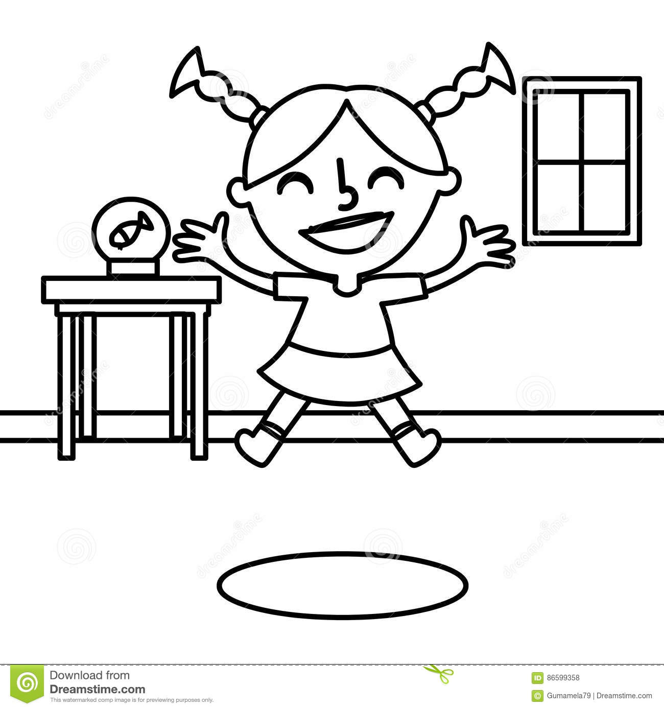 Happy Girl Jumping Coloring Page Stock Illustration
