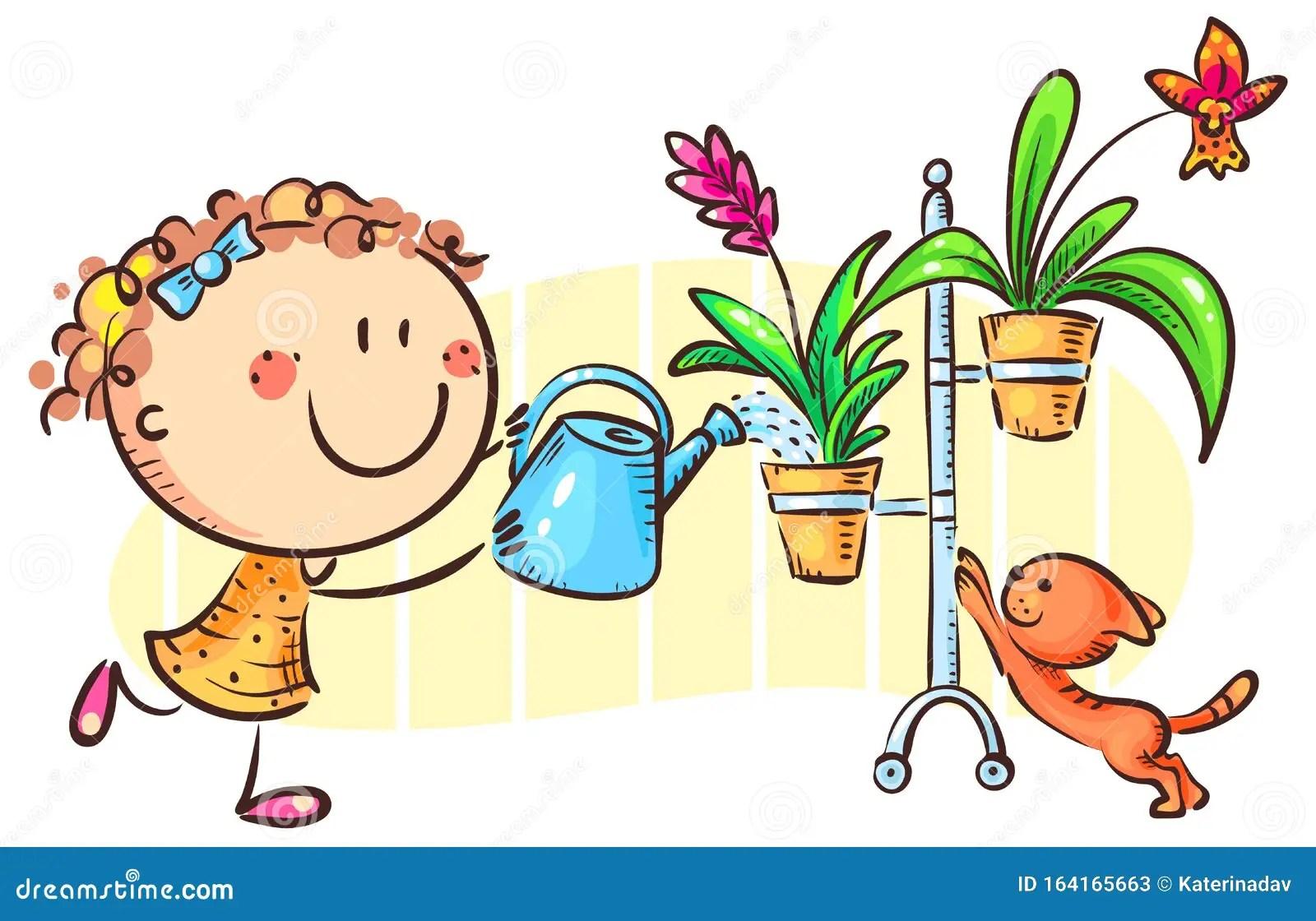 Happy Girl Watering Indoor Plants Cartoon Clipart Stock