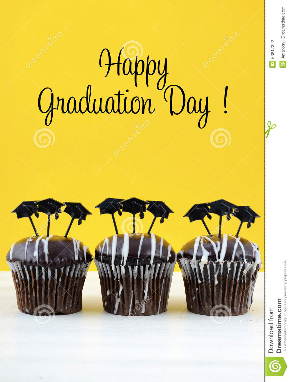 Happy Graduation Day Party Chocolate Cupcakes Stock Photo