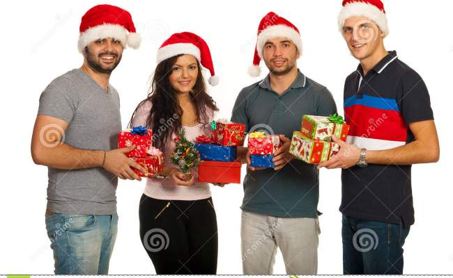 Happy Group Of Friends With Xmas Gifts Royalty Free Stock Photo Image 28313685