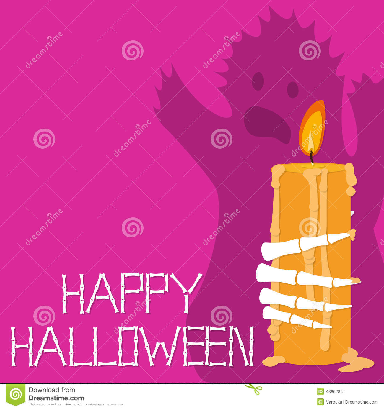 hight resolution of halloween card with a candle a ghost and skeleton fingers