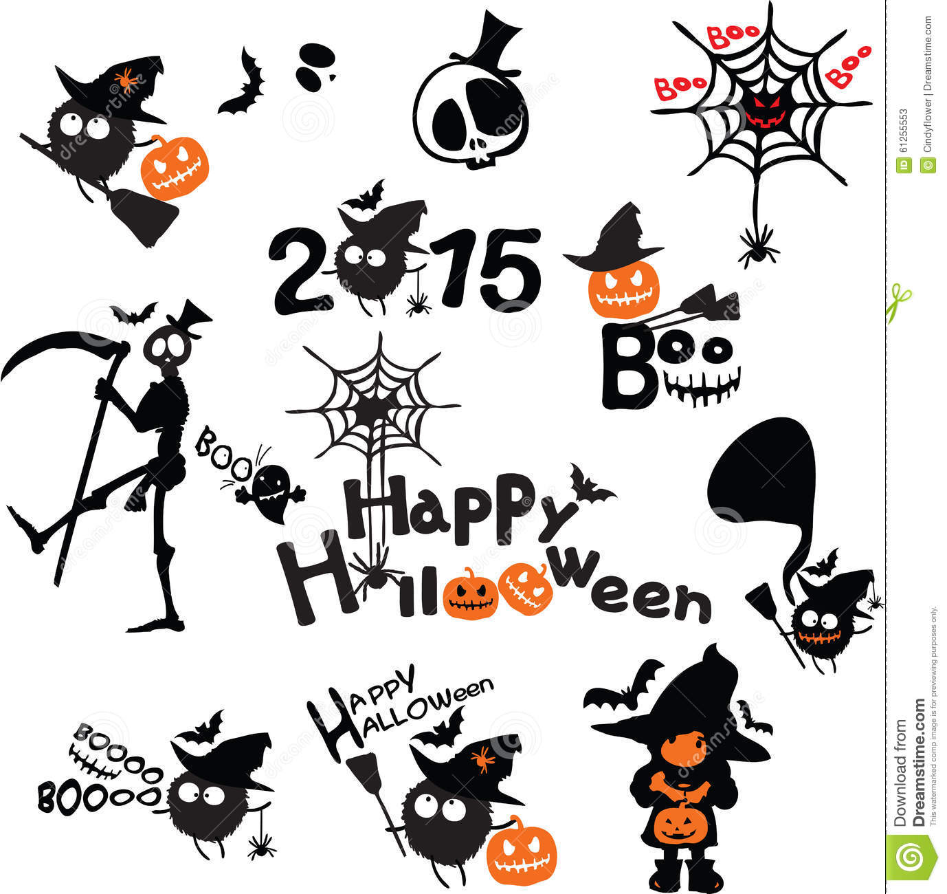 Cute Candy Corn Wallpaper Happy Halloween Horror Icons Set Stock Vector Image