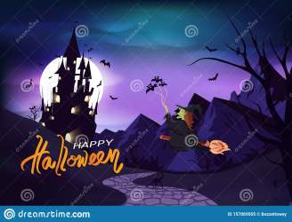 Happy Halloween Poster Invitation Greeting Card Witch Riding A Broom To Castle Fantasy Horror Gothic Style Background Vector Stock Vector Illustration of magical advertising: 157069955