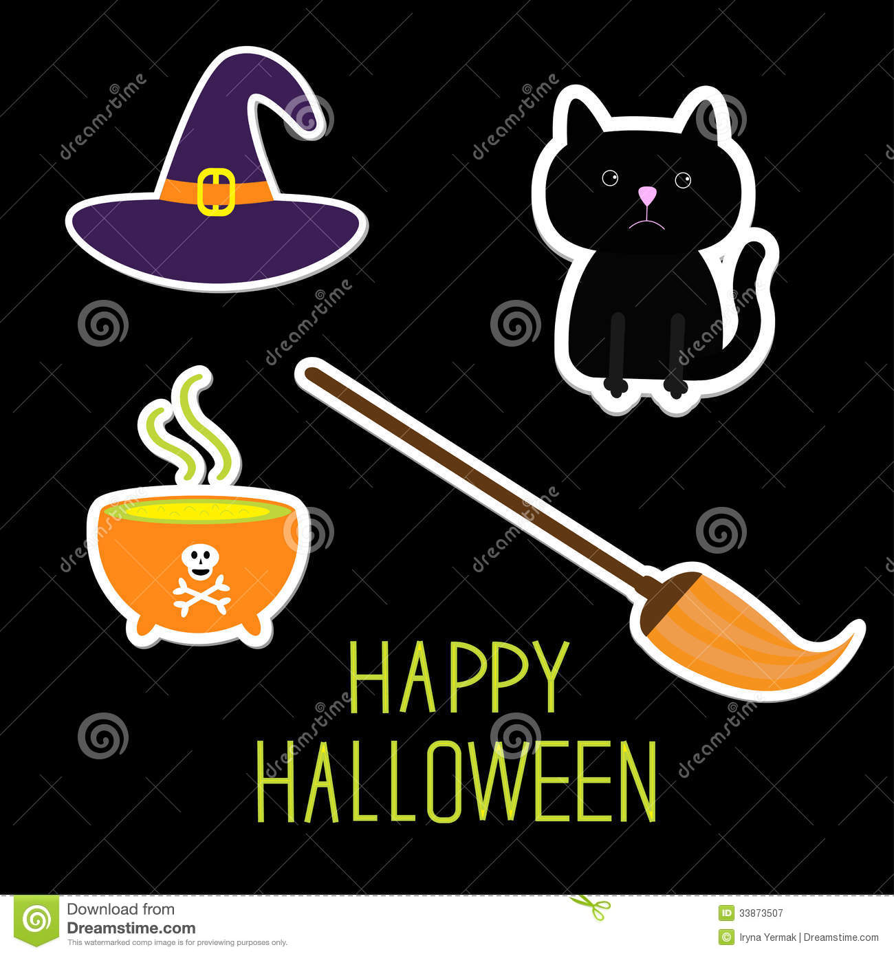 Cat In Fall Wallpaper Background Happy Halloween Witch Set Black Cat Hat Royalty Free