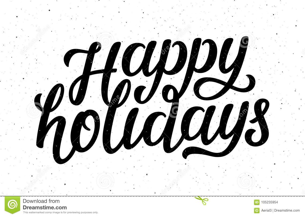 Happy Holidays Vector Calligraphic Lettering Text Stock
