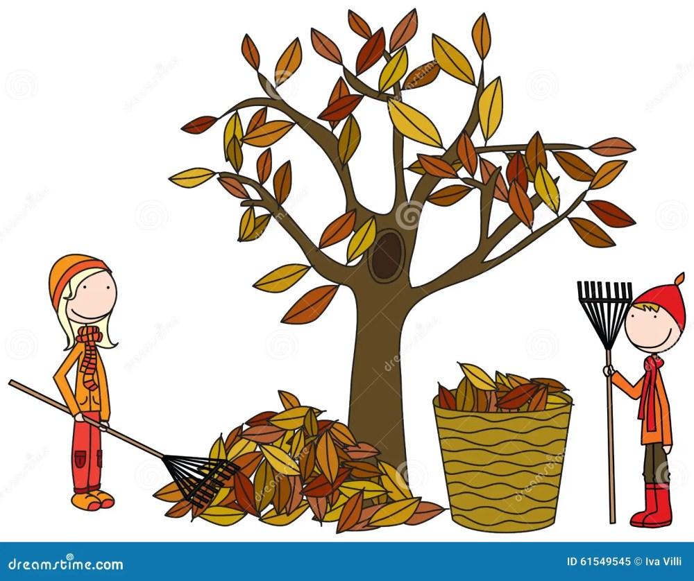 medium resolution of happy kids raking leaves
