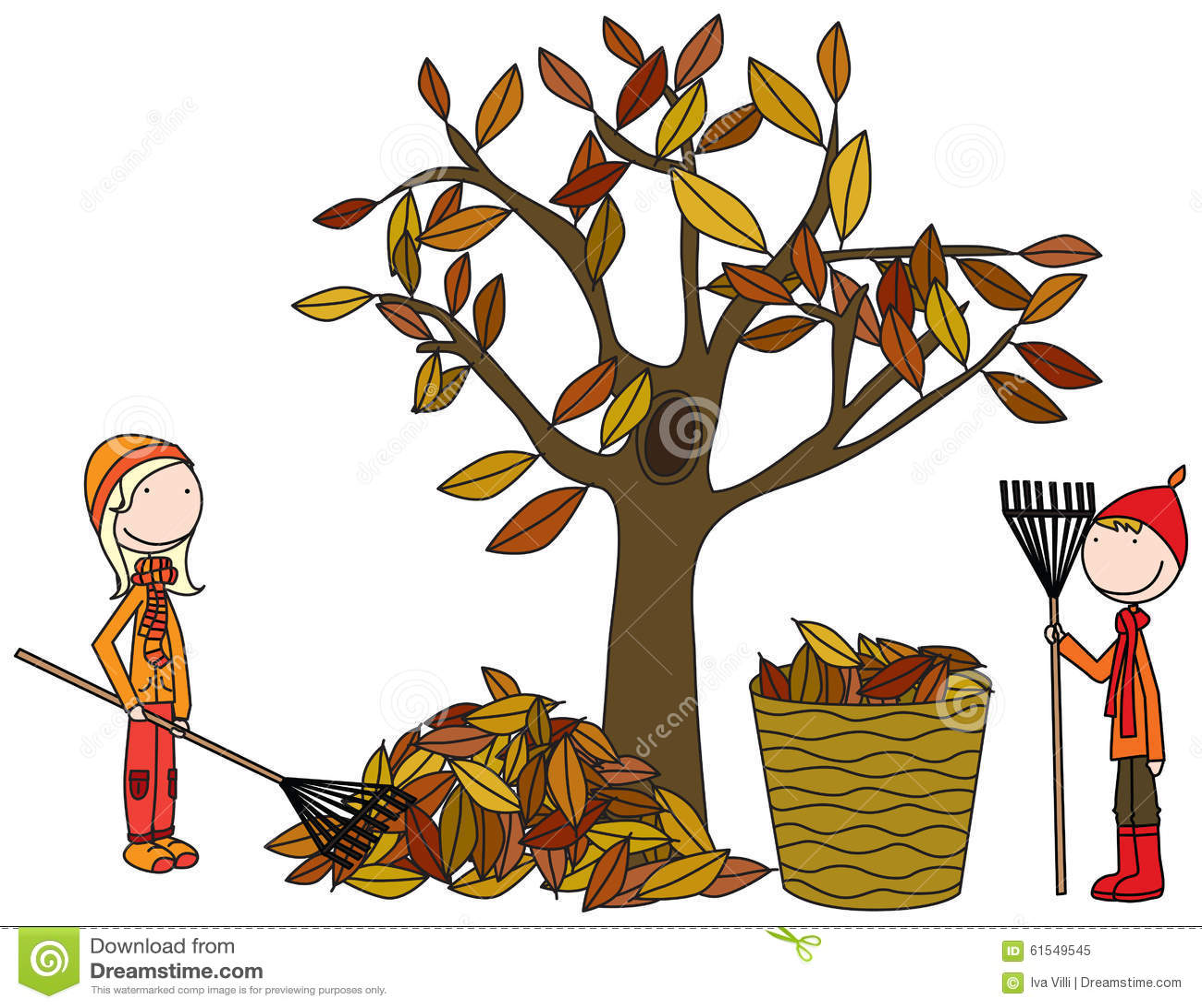 hight resolution of happy kids raking leaves
