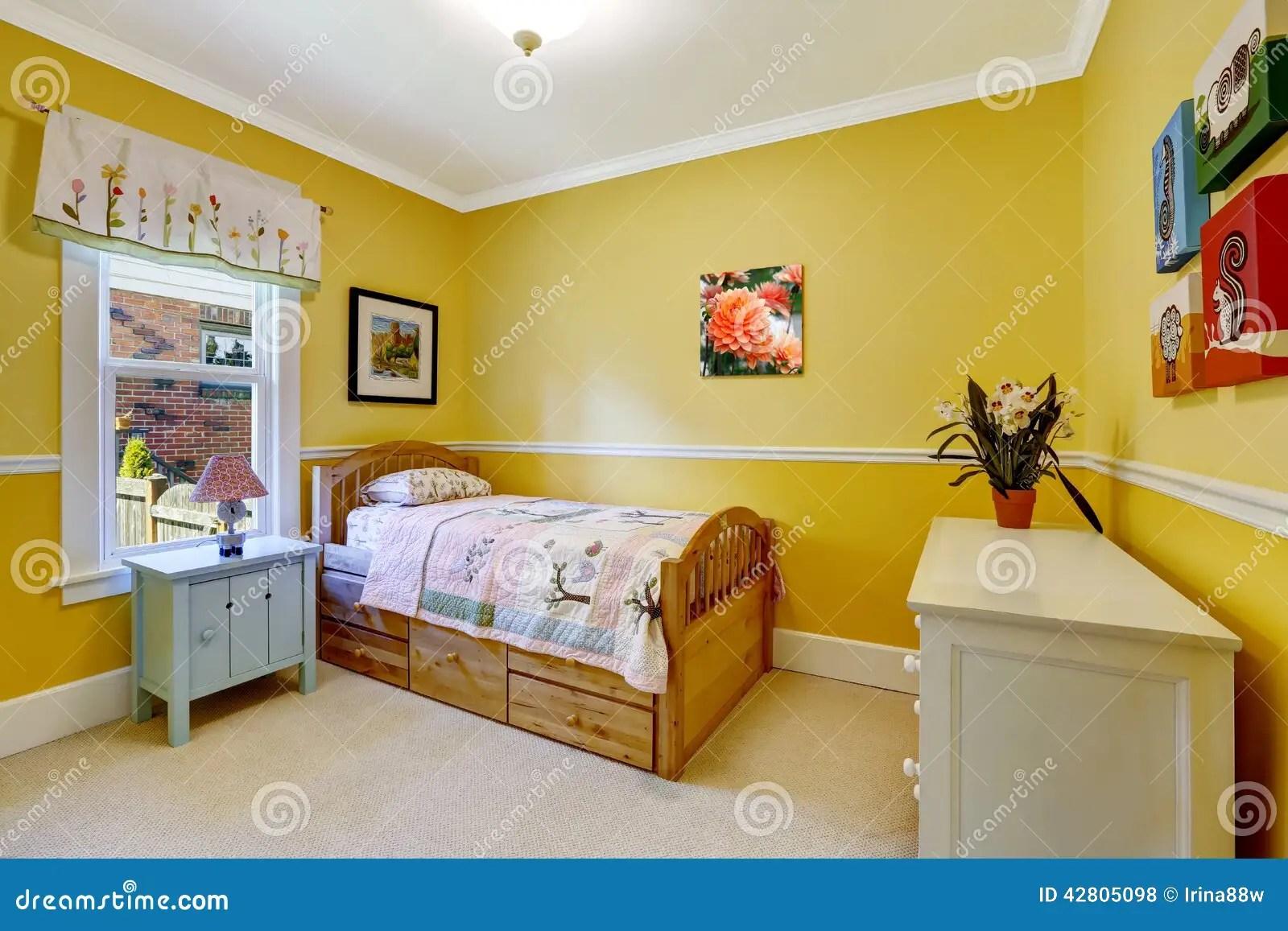 Happy Kids Room In Bright Yellow Stock Photo Image 42805098
