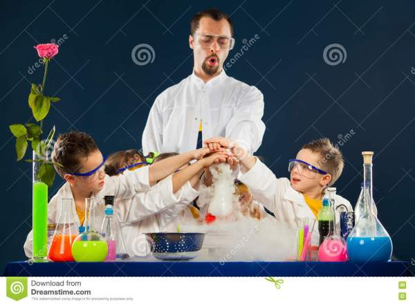 Happy Kids With Scientist Science Experiments In