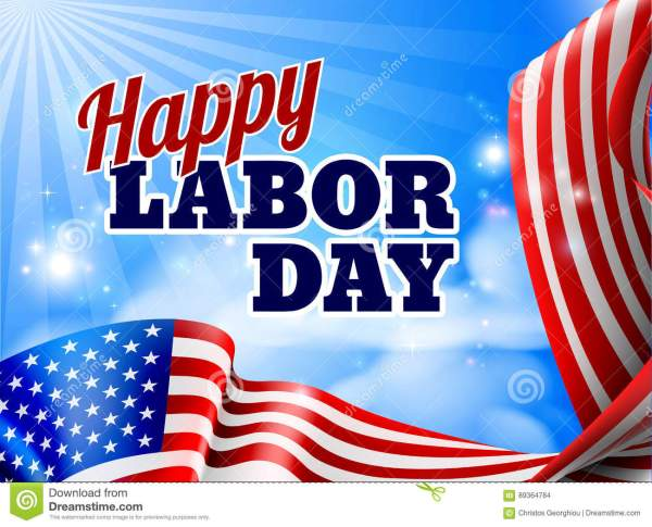 Happy Labor Day American Flag Banner Stock Vector