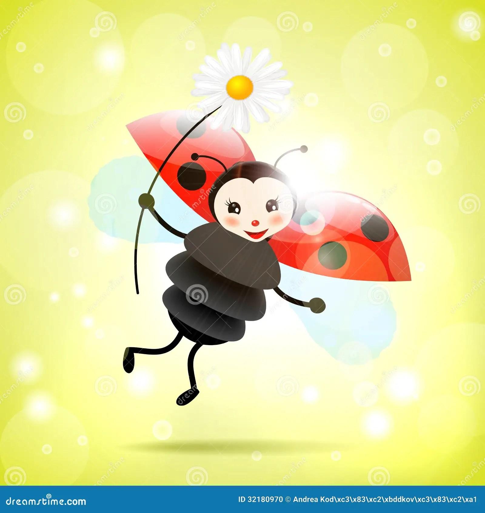 Happy Ladybug With Daisy Illustration Stock Vector