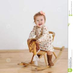 Little Girl Rocking Chair U Design Happy And Horse Stock Image
