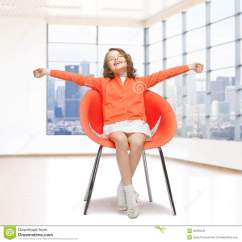 Little Girls Chairs Chair Resistance Band Exercises Happy Girl Sitting On Designer Stock Photo