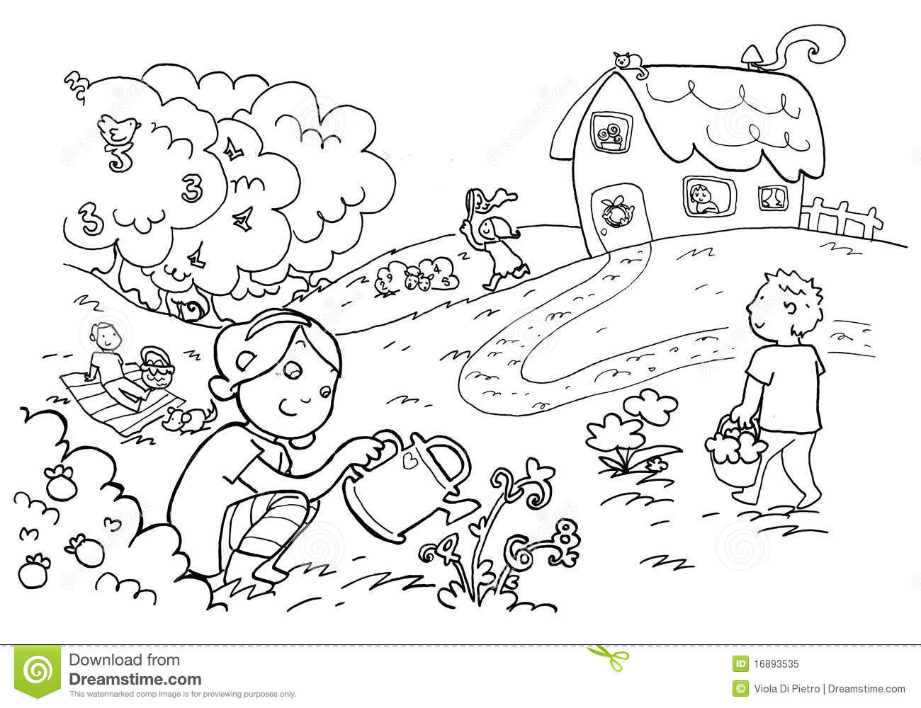 Happy Magic Numbers Garden Black And White Stock Illustration