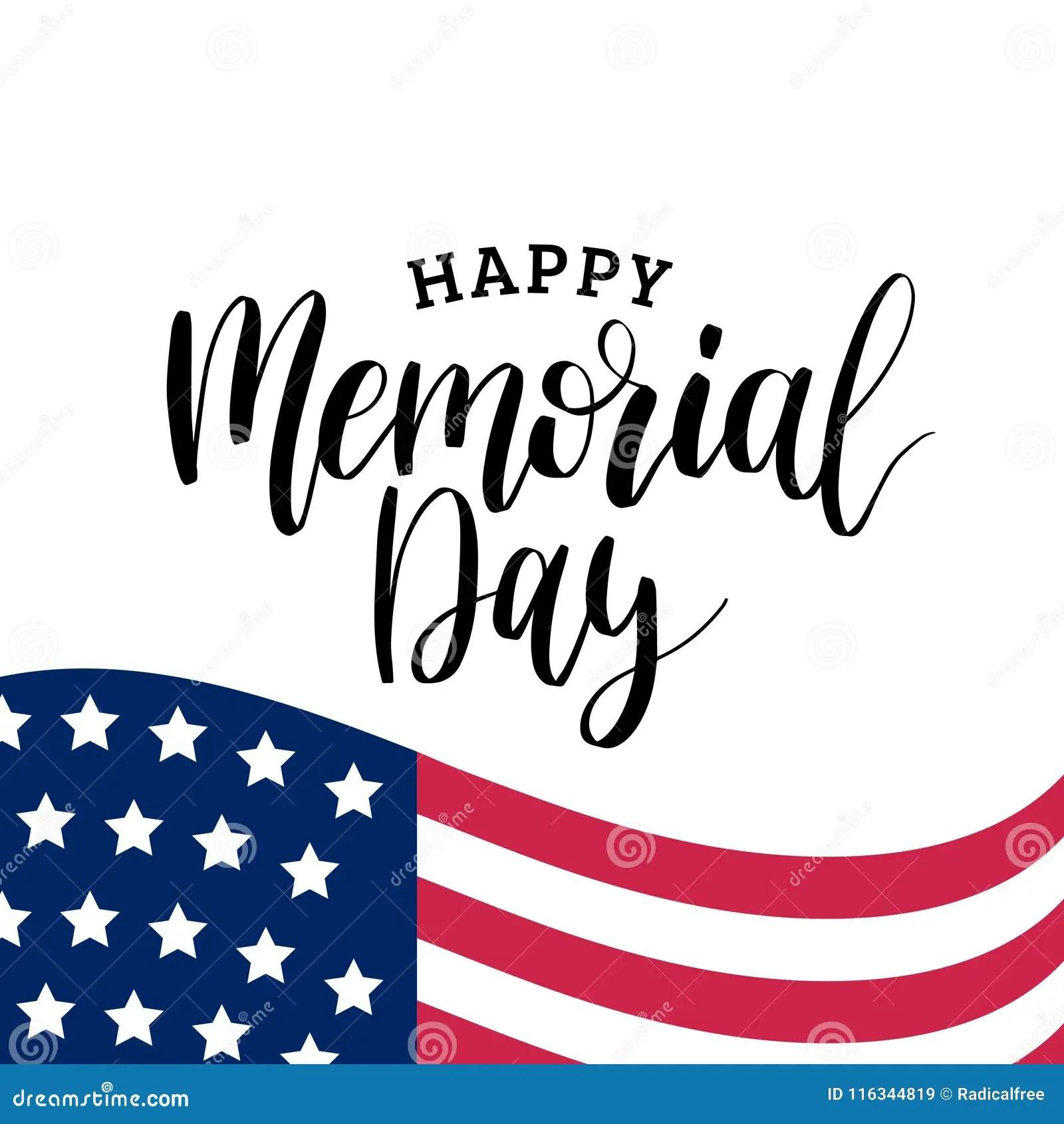 Happy Memorial Day Handwritten Phrase In Vector National