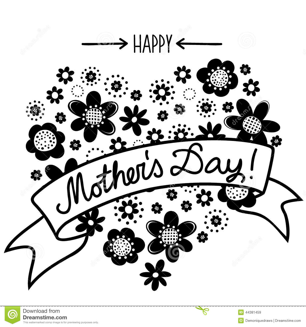 Happy Mother S Day Monochrome Floral Card Stock Vector