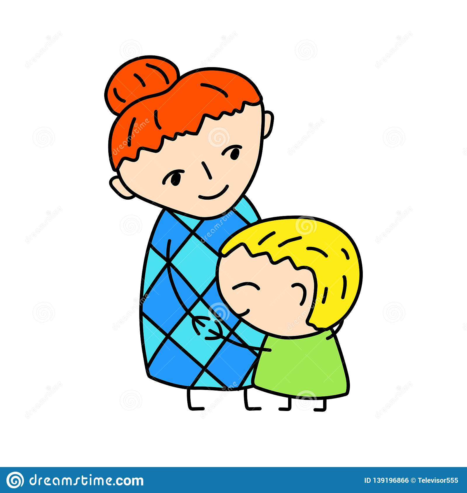 hight resolution of happy mother with son simple vector illustration on white background little boy hugs mommy happy mother s day clipart mom and son drawing in child