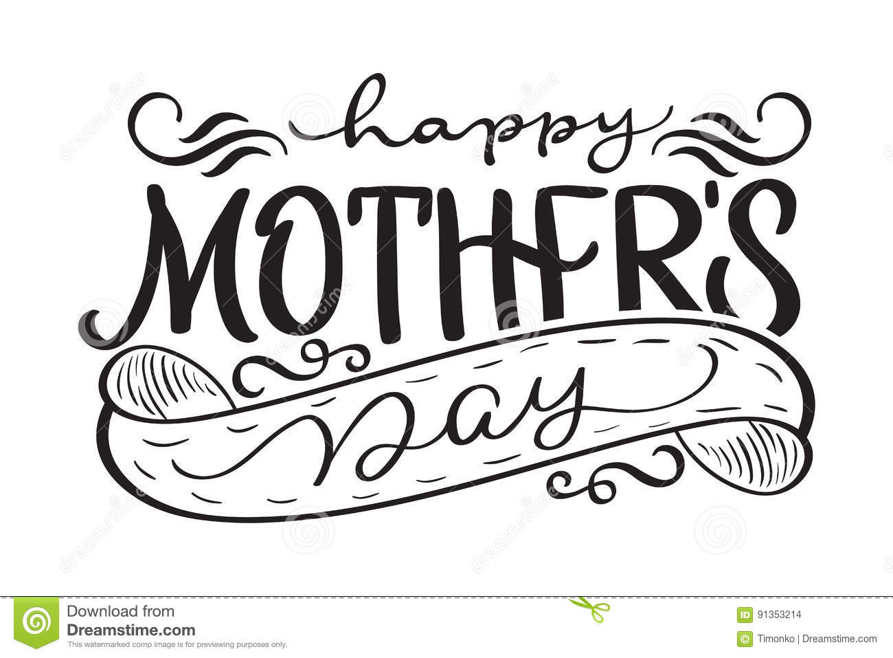 Happy Mothers Day Black Vector Modern Text Calligraphy