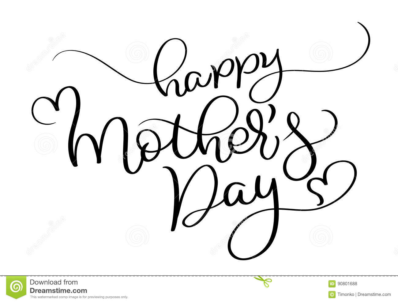 Happy Mothers Day Vector Vintage Text On White Background