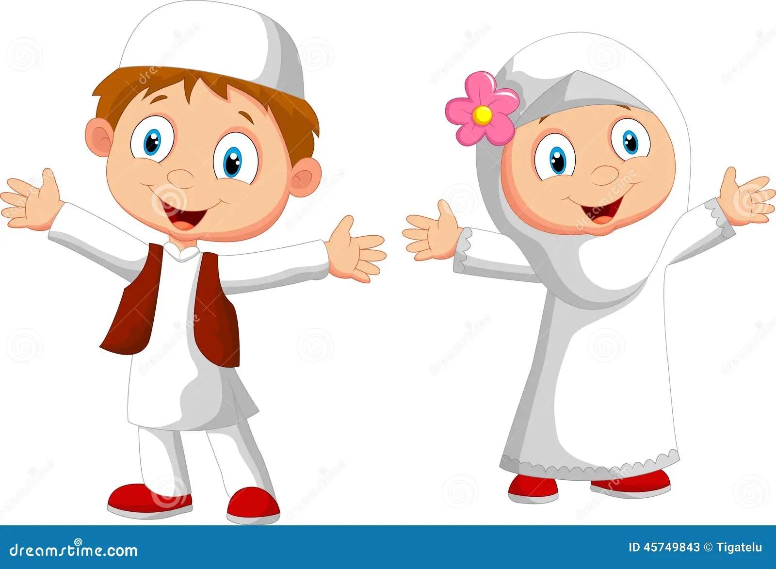 Happy Muslim kid cartoon stock vector Illustration of
