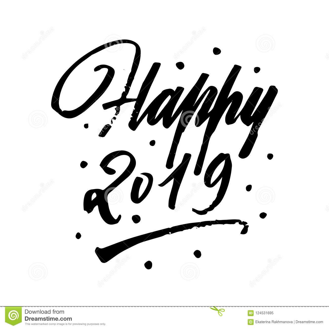 Happy New Year Brush Pen Lettering Calligraphy Stock