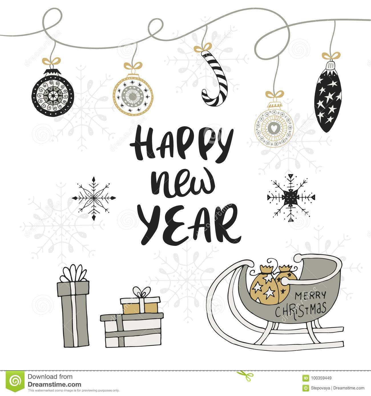 Happy New Year Hand Drawn Christmas Card With Lettering