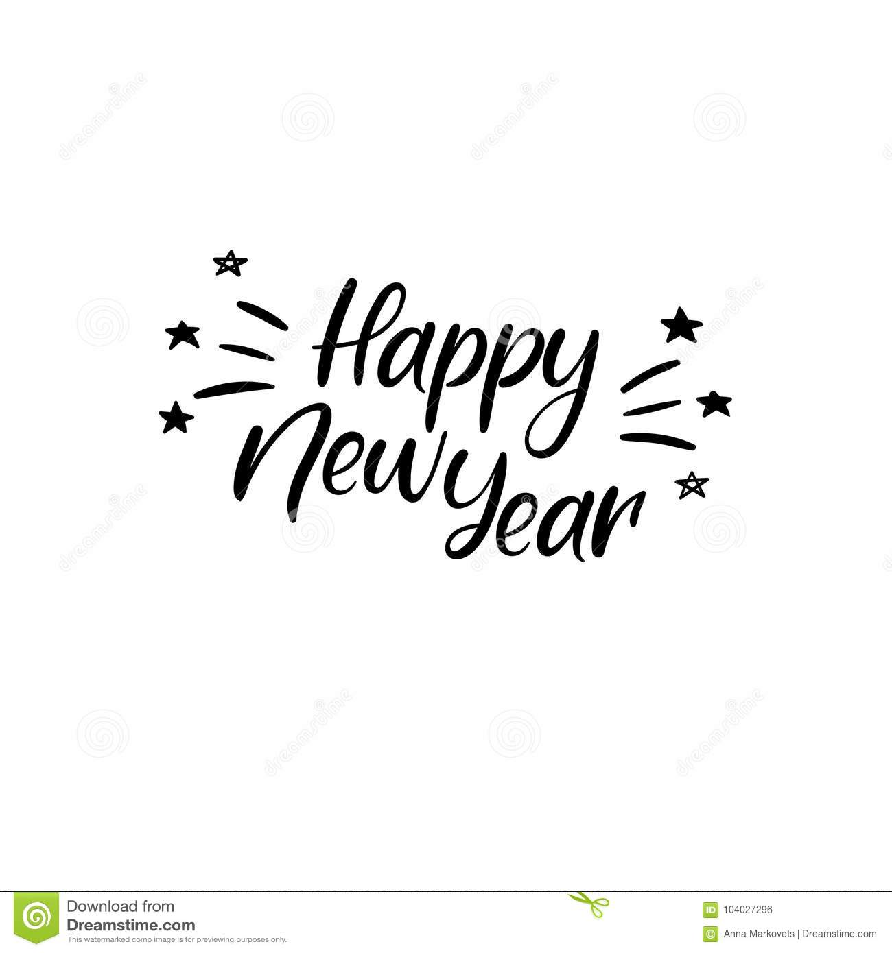 Happy New Year Hand Lettering Greeting Card Vector