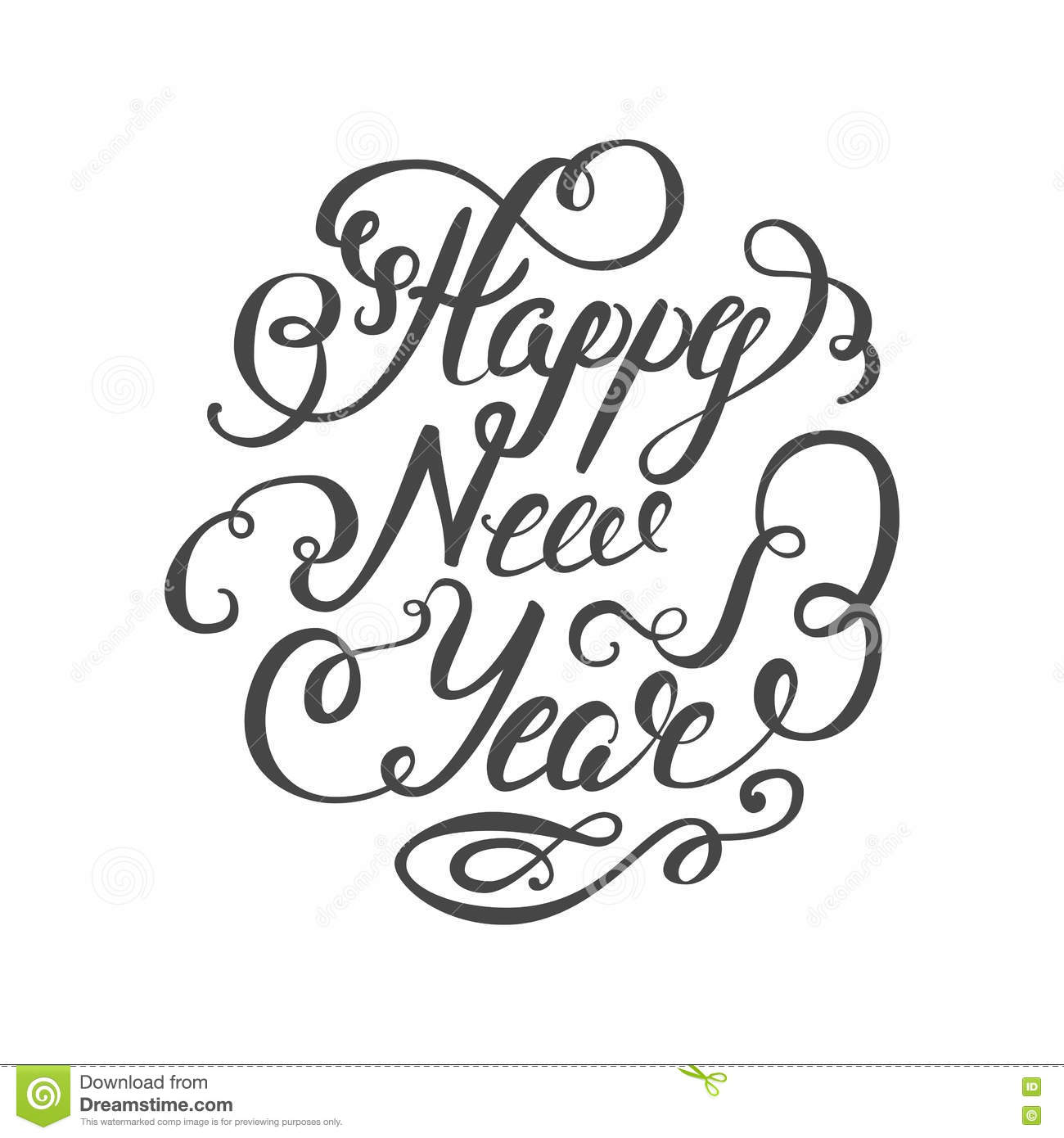Happy New Year 2017 Hand Lettering Text On White