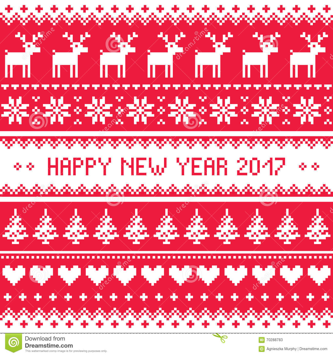 Happy New Year 2017 Scandinavian Red Embroidery Pattern