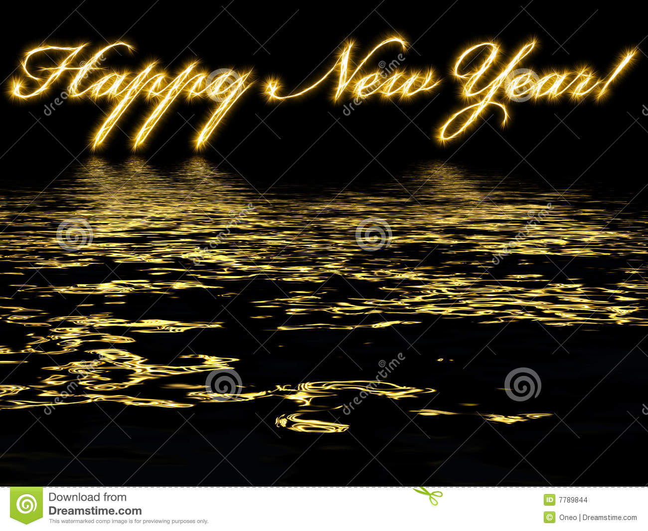 Happy New Year Written With Reflection In Water Stock