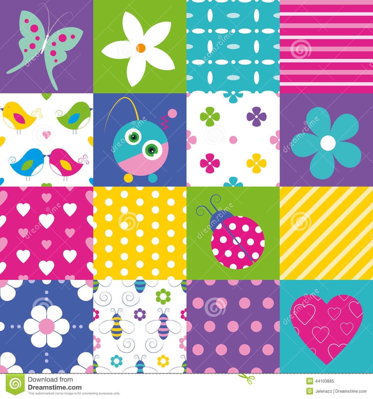 Lovely Girl Boy Wallpaper Happy Patchwork Pattern Collection Stock Vector Image