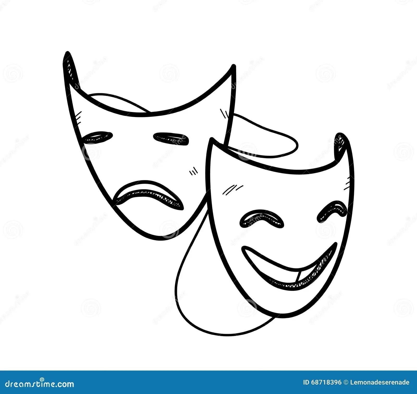 Drama Happy Sad Masks Cartoon Vector