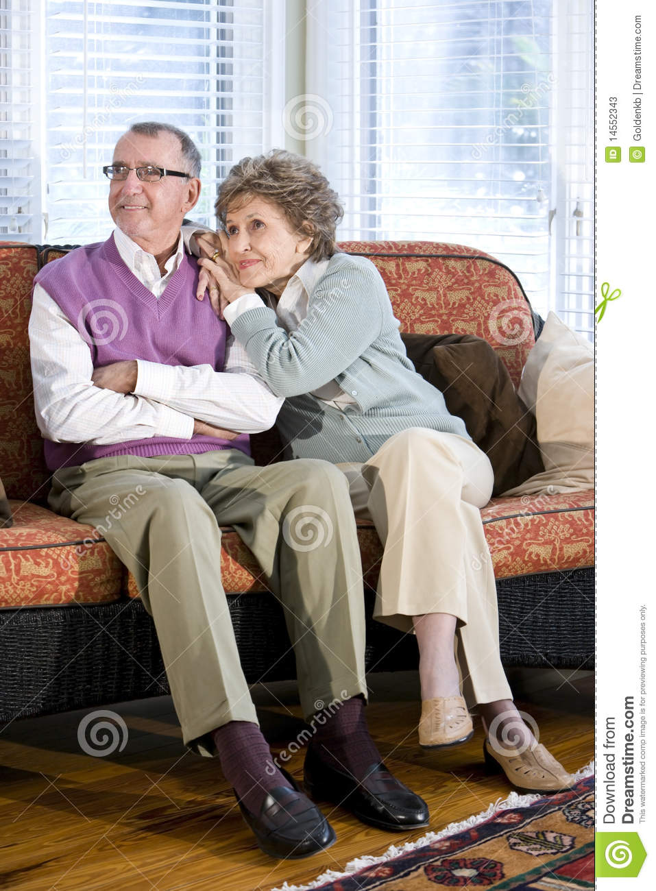 70s sofa distressed white table happy senior couple sitting together on couch stock photos ...