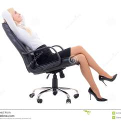 Office Sitting Chairs Custom Bean Bag Happy Business Woman On Chair Isolated