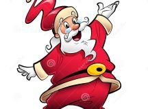 Happy Smiling Santa Claus Cartoon Character Presenting And ...