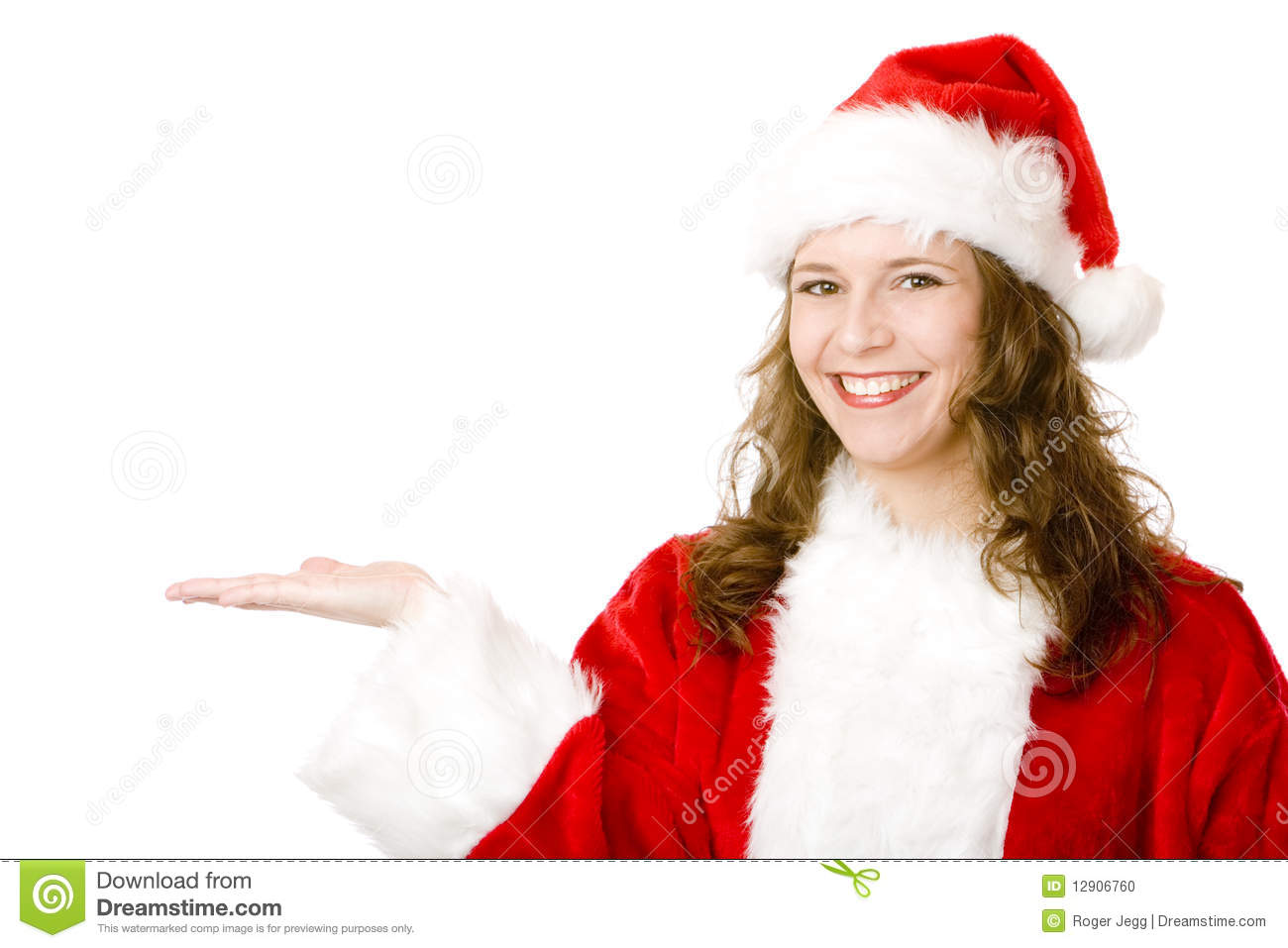 Happy Smiling Santa Claus Woman Holding Open Hand Stock