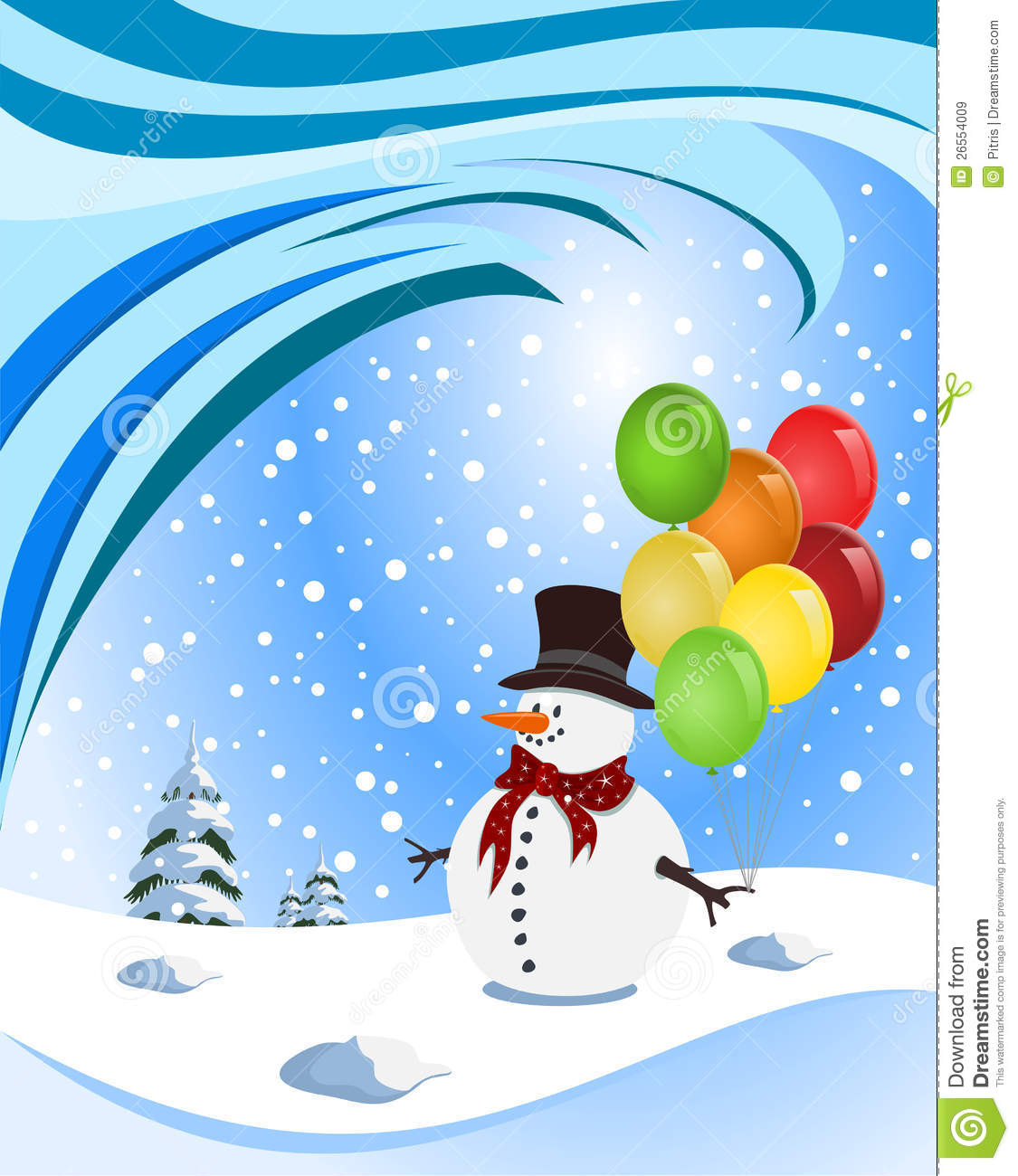 Happy Snowman Holding Colorful Balloons Royalty Free Stock