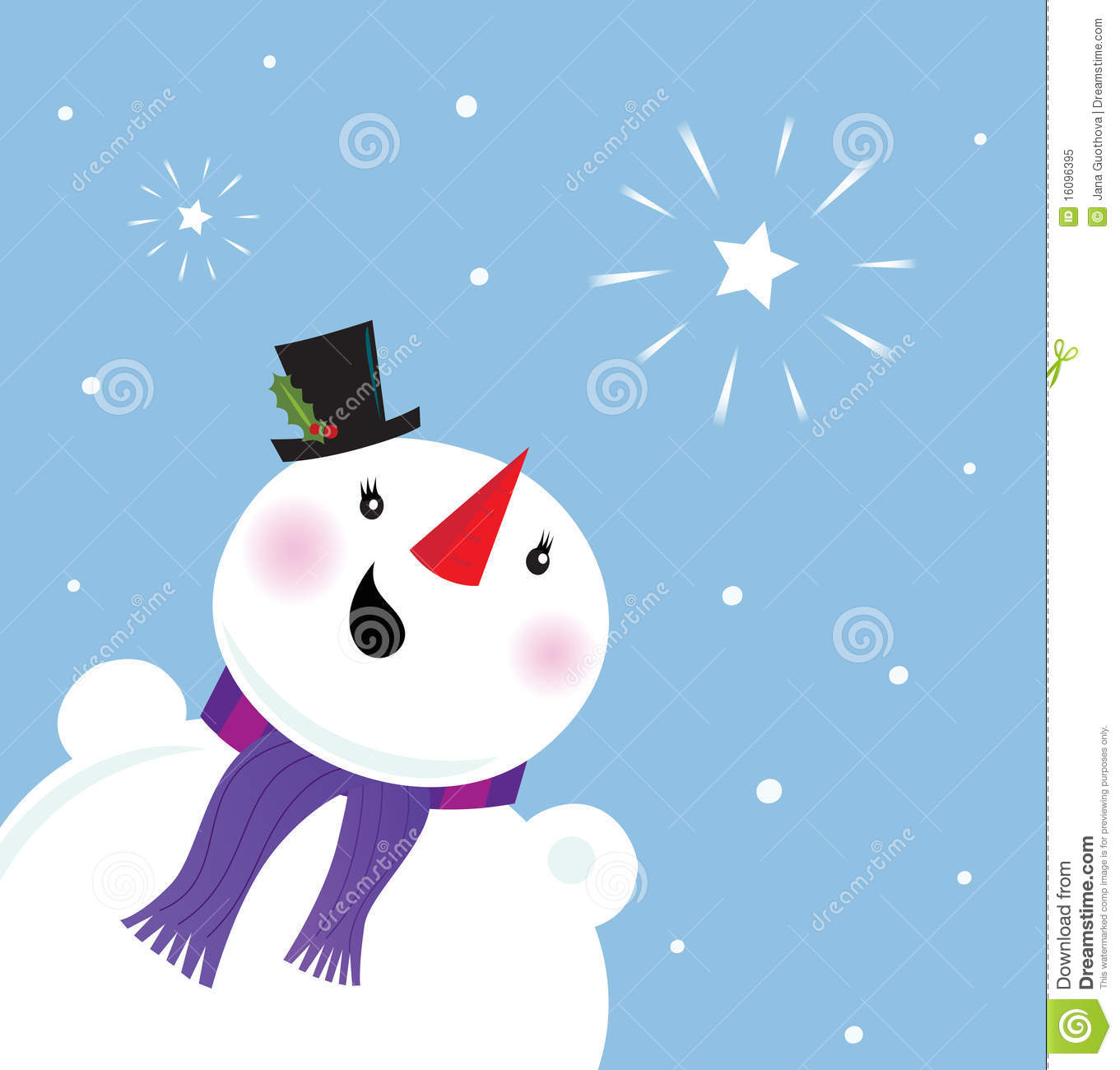 Happy Snowman Looking At Snow And Christmas Star Royalty