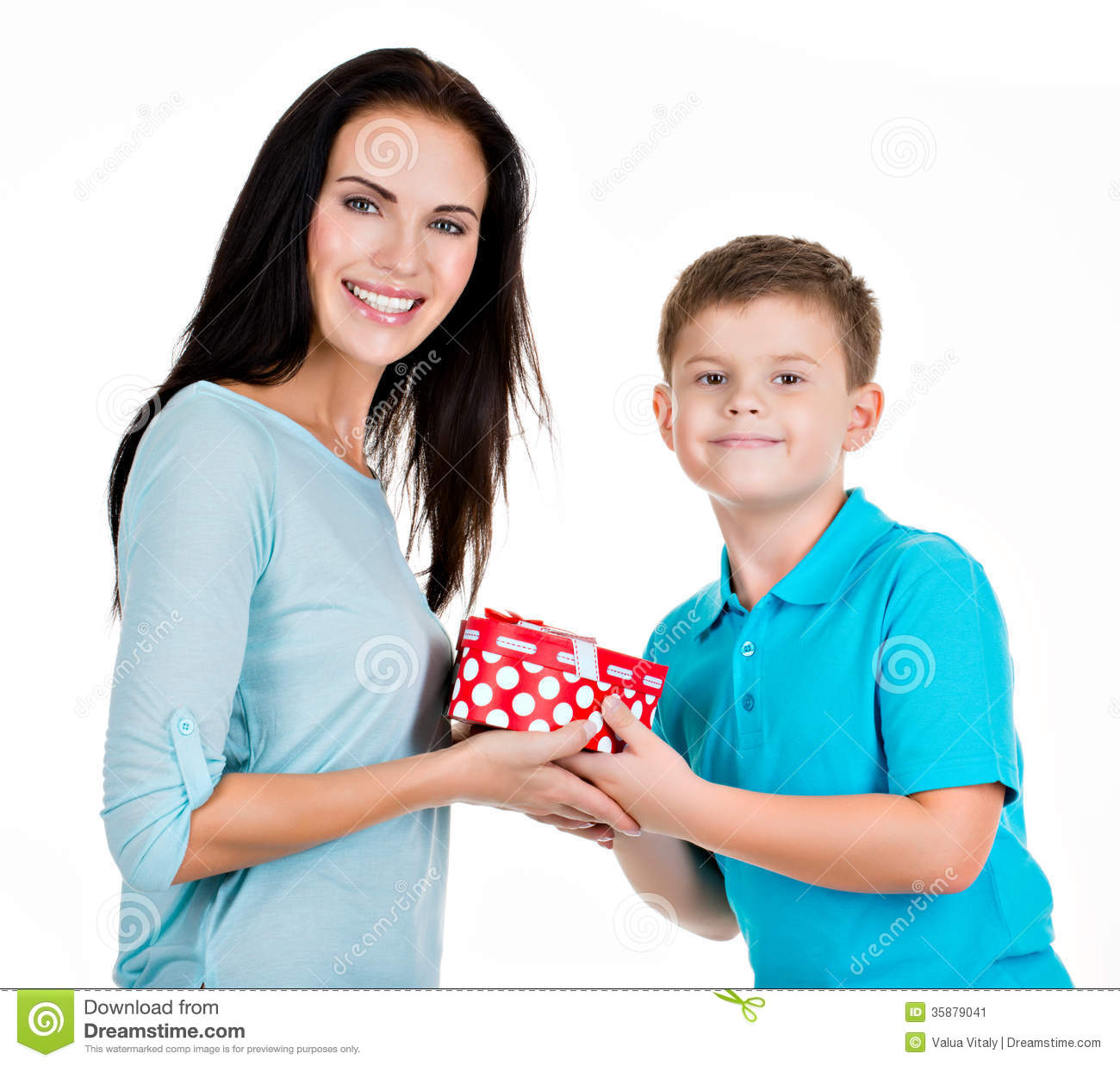 happy son giving a