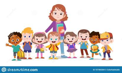 teacher happy clipart kid illustration card background vector sticker printing isolated dreamstime board graphic